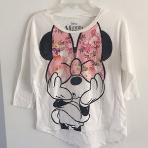 Minnie Mouse Disney 3/4 sleeve tee flower bow l